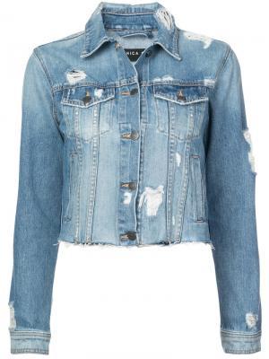Укороченная джинсовая куртка Veronica Beard. Цвет: синий