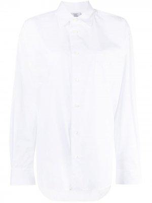 Рубашка оверсайз с нашивкой-логотипом VETEMENTS. Цвет: белый