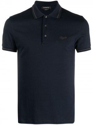 Рубашка поло с вышитым логотипом Ermenegildo Zegna. Цвет: синий