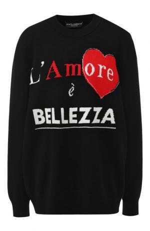 Кашемировый пуловер с вышитой надписью Dolce & Gabbana. Цвет: черный