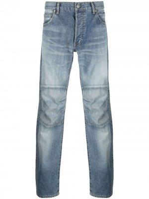 Прямые джинсы с эффектом потертости Balmain. Цвет: синий