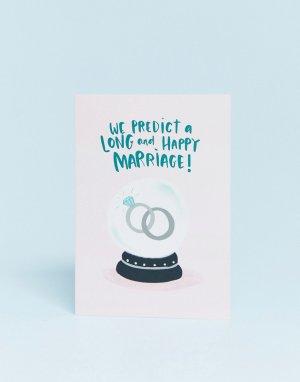 Поздравительная открытка с надписью predict a long and happy marriage -Мульти Lucy Maggie