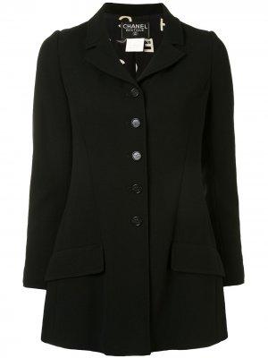 Однобортное пальто 1997-го года Chanel Pre-Owned. Цвет: черный