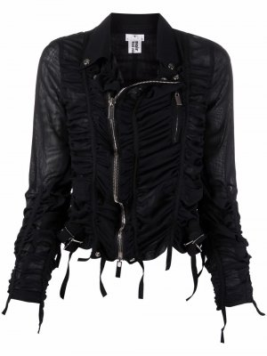 Полупрозрачная байкерская куртка со сборками Comme Des Garçons Noir Kei Ninomiya. Цвет: черный