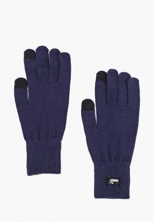 Перчатки PUMA knit gloves. Цвет: синий