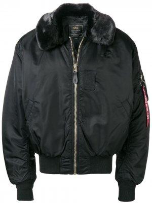 Куртка бомбер Alpha Industries. Цвет: черный