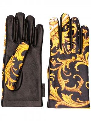 Перчатки с принтом Barocco Versace. Цвет: желтый