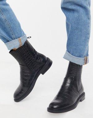 Черные кожаные ботинки челси с крокодиловым принтом Amina от -Черный Vagabond