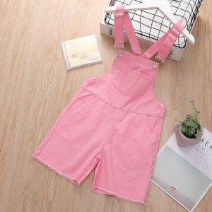 Розовый Пуговица Ровный цвет Институтский Деним для девочек SHEIN. Цвет: розовые