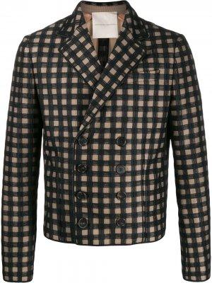 Двубортный пиджак в клетку Marco De Vincenzo. Цвет: черный
