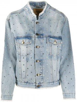 Джинсовая куртка со стразами Alexandre Vauthier. Цвет: синий