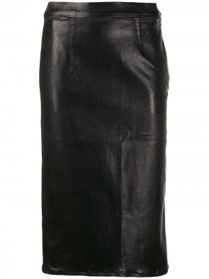 Юбка миди с эффектом металлик J Brand. Цвет: черный