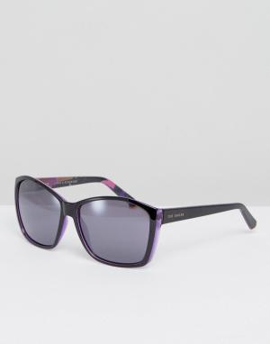 Черные солнцезащитные очки Larke Ted Baker. Цвет: черный