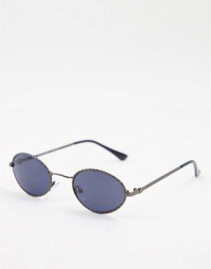 Солнцезащитные очки в круглой серой оправе стиле унисекс -Серый AJ Morgan