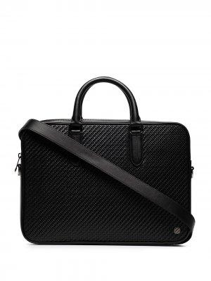 Woven leather briefcase Ermenegildo Zegna. Цвет: черный