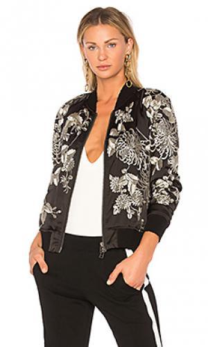 Куртка-бомбер с бархатной вышивкой Pam & Gela. Цвет: черный