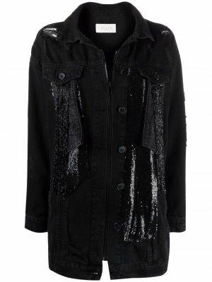Джинсовая куртка с бахромой Loulou. Цвет: черный