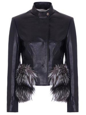 Куртка кожаная с меховой отделкой VIONNET