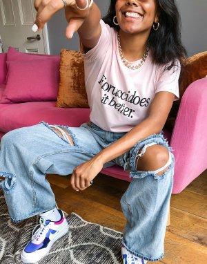 Розовая футболка с надписью -Розовый цвет Fiorucci