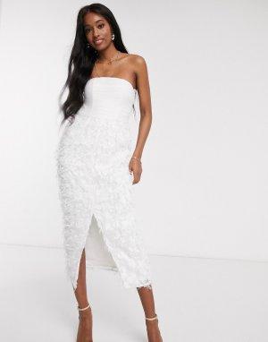 Белое облегающее платье-бандо миди с перьевой отделкой в 3D -Белый Forever U