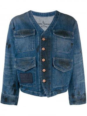 Джинсовая куртка Paint Stroke Vivienne Westwood Anglomania. Цвет: синий