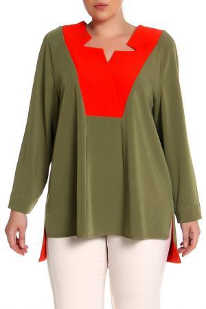 Блуза EVA Collection. Цвет: оранжево-болотный