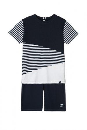 Комплект: футболка, шорты PlayToday. Цвет: тёмно-синий, белый