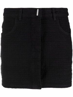 Мини-юбка с монограммой Givenchy. Цвет: черный