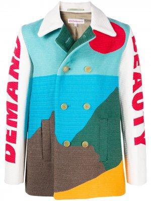 Пиджак с длинными рукавами и узором Walter Van Beirendonck. Цвет: синий