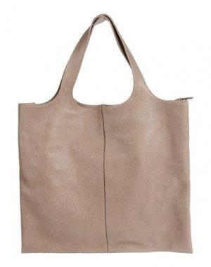 Большая кожаная сумка BRUNELLO CUCINELLI. Цвет: голубиный серый
