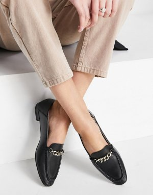 Черные кожаные лоферы с декоративной пряжкой Cleo-Черный Vagabond