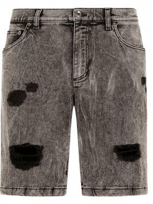 Джинсовые шорты с эффектом потертости Dolce & Gabbana. Цвет: черный