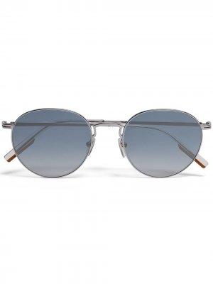 Солнцезащитные очки Leggerissimo в круглой оправе Ermenegildo Zegna. Цвет: серебристый
