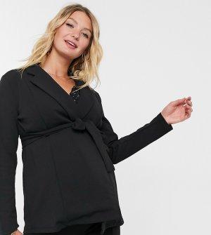 Черный трикотажный пиджак с запахом ASOS DESIGN Maternity-Черный цвет Maternity