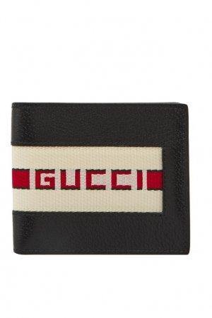 Кожаный кошелек с контрастной отделкой Gucci Man. Цвет: черный