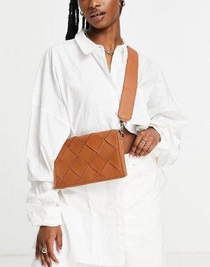 Коричневая кожаная сумка через плечо с плетеным дизайном -Коричневый цвет ASOS DESIGN
