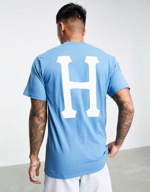 Голубая классическая футболка Essentials-Голубой HUF