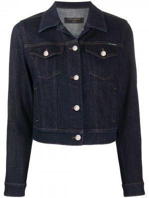 Укороченная джинсовая куртка на пуговицах Dolce & Gabbana. Цвет: синий