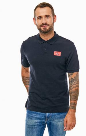Хлопковая футболка поло с короткими рукавами Calvin Klein Jeans. Цвет: черный