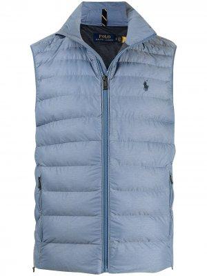 Дутый жилет Packable Polo Ralph Lauren. Цвет: синий