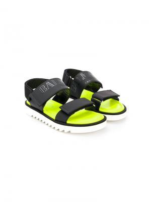 Сандалии на липучках с логотипом Balmain Kids. Цвет: черный