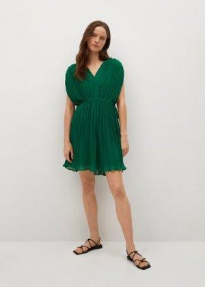 Короткое платье с плиссировкой - Mina Mango. Цвет: зеленый