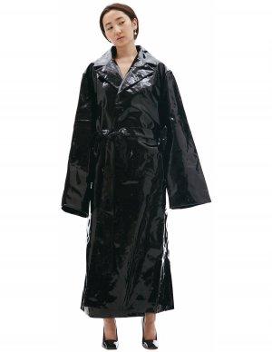 Черное пальто из лакированной кожи Vetements