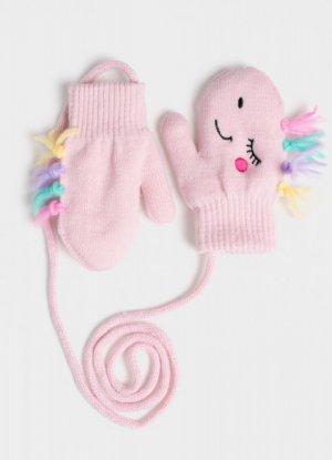 Варежки для девочек O`Stin. Цвет: холодный розовый
