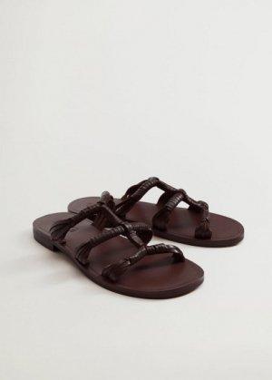 Кожаные сандалии с ремешками - Mano Mango. Цвет: шоколадный