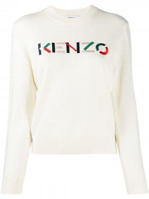 Пуловер с вышитым логотипом Kenzo. Цвет: белый
