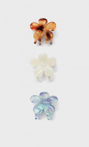 Набор Из 3 Заколок Для Волос С Цветочным Принтом Цвет Карамели 103 Stradivarius. Цвет: цвет карамели