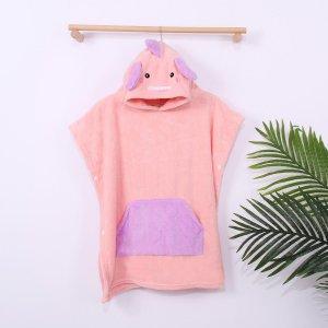 Детский банный халат в мультипликационной форме SHEIN. Цвет: розовые