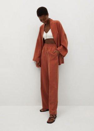 Прямые брюки из струящейся ткани - Kimo Mango. Цвет: золотисто-оранжевый