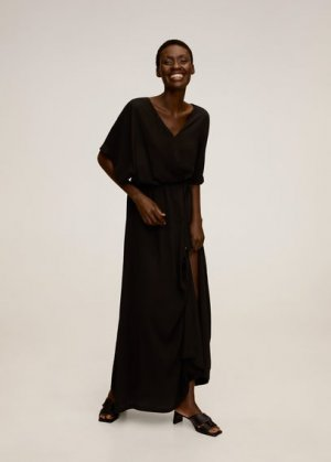 Длинное платье с запáхом - Duddy-a Mango. Цвет: черный
